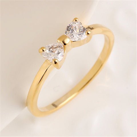 Korean Style Gold Plated Bow Ring Zircon Ring Fashion Jewelry For Women Party Gift