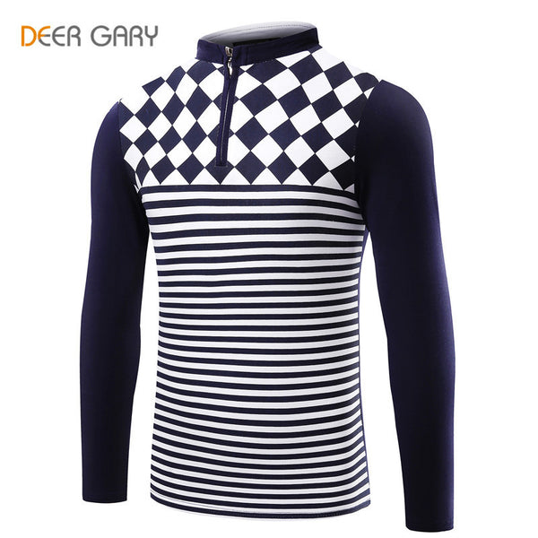 Spring Autumn New Style Stripe design slim Fit  Mens Polo Shirt Stand collar long sleeve Casual Business Shirt Plus Size
