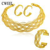 CWEEL Fine Wedding African Beads Jewelry Sets Gold Plated Statement Chokers Necklace Earrings Classic Wedding Party Accessories