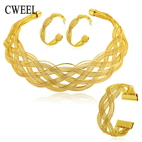 jewelry set - Fashion accessories ,clothing, jewelry, CWEEL Fine Wedding African Beads Jewelry Sets Gold Plated Statement Chokers Necklace Earrings Classic Wedding Party Accessories - clothing, Gorgeous things online - gorgeous things online