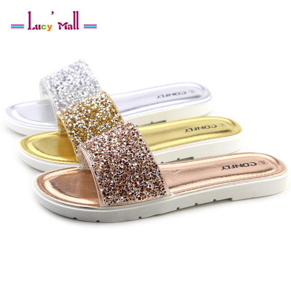 Women's Summer Slippers Casual Slides Women Sandals Flat Rhinestone Sandals Flip Flops  Beach Shoes Sapatos Ladies Comfortable