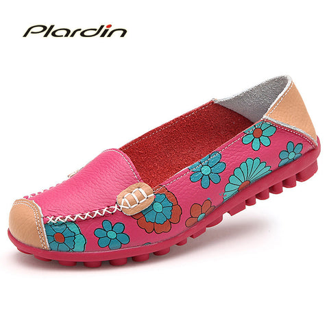 flats - Fashion accessories ,clothing, jewelry, 2017 Cow Muscle Ballet Summer Flower Print Women Genuine Leather Shoes Woman  Flat Flexible Nurse  Peas Loafer Flats - clothing, Gorgeous things online - gorgeous things online