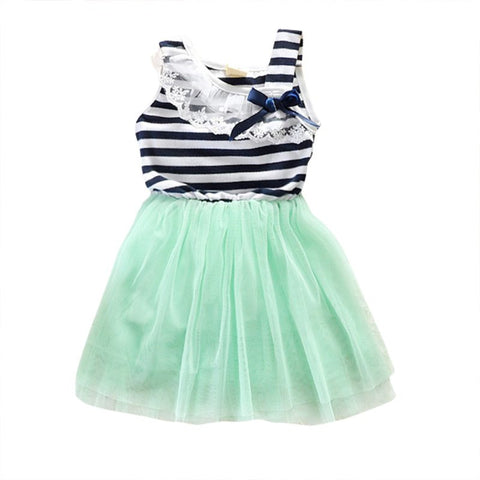 Cotton + Tulle Summer Baby Girls Cotton Sleeveless Dresses Lace Bow-knot Striped Bubblet Tutu Dress 1-4Y