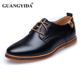New 2017 Men Leather Shoes Casual Leather Lace-up Shoes Black Brown Flat Leather Loafers Oxford shoes Plus size 45,46,47