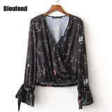 top - Fashion accessories ,clothing, jewelry, Dioufond Bodies Women Sexy Blouses Cuff Knotted Chiffon Blouse Camisas Femininas 2016 Women Blouse Print Floral Long Sleeve - clothing, Gorgeous things online - gorgeous things online