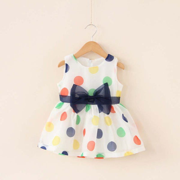 Baby Girl Dresses Summer Girls Bow Vest Dress Infant Girl Sleeveless Dot Dress 0-2 Year Baby Birthday Dress Clothes