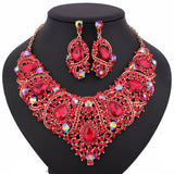 Free Shipping,Fashion Trendy nigerian wedding African Beads Jewelry Sets Crystal Necklace Set Party Wedding Dubai Jewelry Set