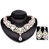 9 Colors Choice,Hot Sale African Jewelry Set Czech Rhinestone Crystal Choker Necklace Earrings Bridal Jewelry Sets For Wedding