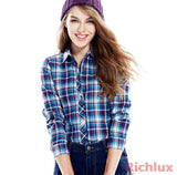 High Quality Plaid Blouses Shirts For Women Ladies Long Sleeve Grip Blouses Cute Female OL Top Shirts Blusas J2349