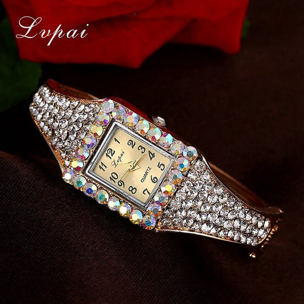 Lvpai Brand Gold White Fashion Bracelet Watch Women Multicolor Fashion Flower Quartz Wristwatch Rhinestone Casual Watches XR1960
