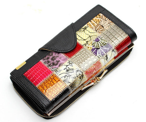 Wilicosh 3 Fold Fashion Genuine Leather Women Wallets Patchwork Hasp Coin Pocket Purse Female Clutch Bag Lady Money Clip WL352
