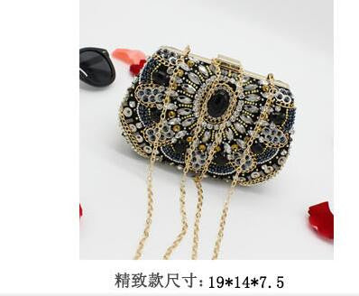 Women Black Beading Clutch Bags Luxury Evening Bags Diamonds Handbags Wedding Bridesmaids Bridal Party Feast Bag With Chains