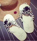 Big Size Women Designers Flip Flops Hot 2017 Casual Flats Thong Sandals,Flowers Decoration Open Toe Loafers Slippers Summer Shoe