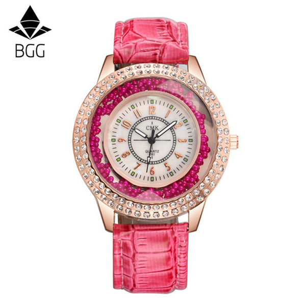 New Fashion Ladies Watch Crystal Rhinestone PU Leather Watches quicksand Women Dress Quartz Wristwatch clock Hours Reloj Mujer