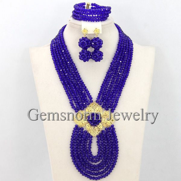 jewelry set - Fashion accessories ,clothing, jewelry, African Jewelry Sets Royal Blue Nigerian Wedding Beads Fashion Jewelry Set 2017 Chunky Jewelry Set Free Shipping WB053 - clothing, Gorgeous things online - gorgeous things online