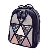 Preppy Style Women Backpack Geometric Patchwork Female School Bags High Quality PU Leather Backpacks for Teenagers Girls Mochila