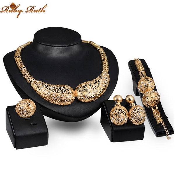 Jewelry Sets Women Accessories African Crystal Statement Necklace Earrings Bracelet Rings Wedding Bridal gold plated  Plated Set