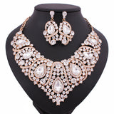 New Fashion Czech Rhinestone Crystal Wedding Jewelry Sets African Jewelry Set Necklace Earrings