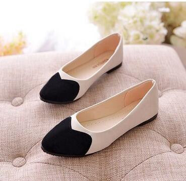 Free shipping 2016 spring Women's shoes European and American style Pointed flat shoes Pale peach heart of single shoes