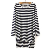 Women loose side split long T shirt O-neck long sleeve cozy shirts bacis brief stripped Femininas European casual tops LT557