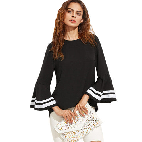SheIn Black Women Elegant Striped Long Flare Sleeve Women Tops and Blouses Ladies Top for Autumn Keyhole Back Blouse