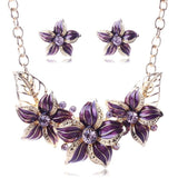 Gold Plated Austrian Crystal Enamel Flower Jewelry Sets Women African Costume Jewelry Maxi Necklace Earring Set XY-N404