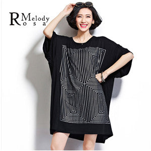 top - Fashion accessories ,clothing, jewelry, BelineRosa Plus Size Women Tops and Shirts Casual Geometric Maze Short Sleeve Loose Cotton Shirts for Women Fit 2XL~5XL DS0014 - clothing, Gorgeous things online - gorgeous things online