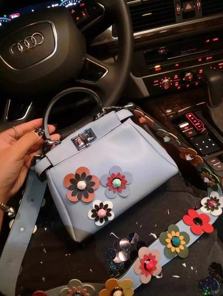 women peekaboo bags flowers high quality split leather messenger bag shoulder mini  handbags tote famous brands designer bolsa