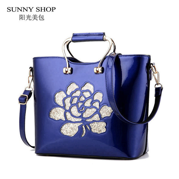 SUNNY SHOP Christmas New Arrival Socialite Women Evening Bag High Quality Patent Leather Women Wedding Shoulder Bags Bride Bag