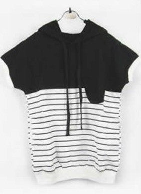 New arrival Cotton striped t-shirt women short sleeve hooded Causal t shirts Women Summer tops for women clothing tshirts