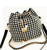 satchel - Fashion accessories ,clothing, jewelry, DUSUN Promotion Hot Women Chains Fashion Bucket Bag Canvas Patchwork Houndstooth Brand Messenger Bag Bolsas BS391 - clothing, Gorgeous things online - gorgeous things online