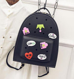 Woman bag New 2016 brand fashion Spring jelly double woman shoulder bag Sweet cartoon embroidery students backpack fashion bag