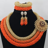 African Jewelry Set Chunky African Wedding Jewelry Set Nigerian Bead Indian Bridal Necklace Jewelry Set Free Shipping AEJ633