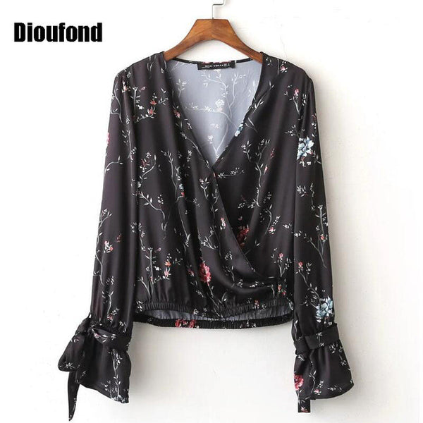 Dioufond Bodies Women Sexy Blouses Cuff Knotted Chiffon Blouse Camisas Femininas 2016 Women Blouse Print Floral Long Sleeve