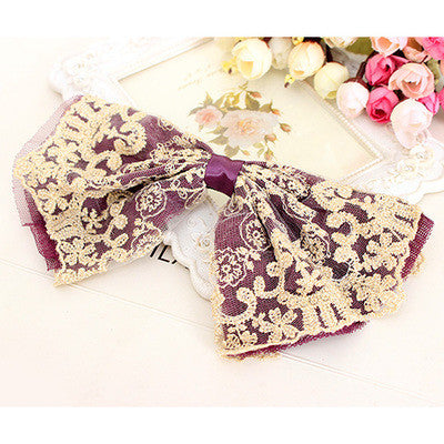 hair accessory - Fashion accessories ,clothing, jewelry, Big Lace Ribbon Bows Embroidered Boutique Headwear Hair Accessories for Women Hair Clips Barrettes for Girls Children Kids - clothing, Gorgeous things online - gorgeous things online