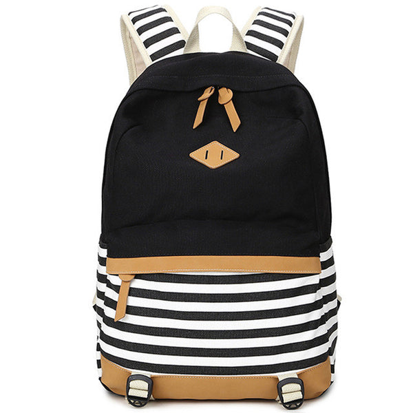 XQXA preppy school bags backpack for girls teenagers cute canvas striped printing women backpack bag Female escolar mochilas