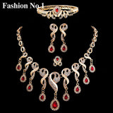 jewelry set - Fashion accessories ,clothing, jewelry, Elegant Tassel Nigerian Necklace Earrings For Women Wedding African Beads Jewelry Set Cz  Crystal Ring Bridal Gift - clothing, Gorgeous things online - gorgeous things online
