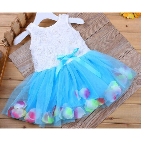 MK 2017 Summer Girls Dresses Lace Flower Blooms Bowknot Tulle Kids Baby Girl Dress Children Girls Clothing Free Shipping D8941