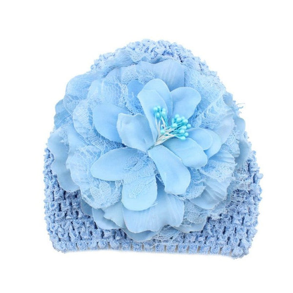 Hand Crochet Knit Cap Kids Girls Winter Warm Baby Toddler Beanie Hat Flower