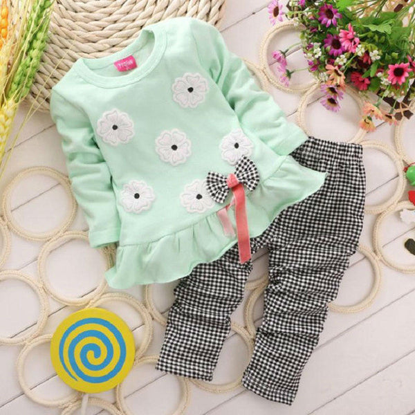 - Fashion accessories ,clothing, jewelry, 2016 Baby Girls Clothes Girl Clothing Set Children Flower Bow Cute Suit 2PCS Kids Twinset Top T Shirt +Plaid Pants Leggings - clothing, Gorgeous things online - gorgeous things online