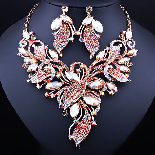 jewelry set - Fashion accessories ,clothing, jewelry, FARLENA JEWELRY Elegant Crystal Rhinestones Plant Shaped Necklace Earrings set for Women Wedding Fashion Bridal Jewelry Sets - clothing, Gorgeous things online - gorgeous things online