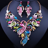 FARLENA JEWELRY Elegant Crystal Rhinestones Plant Shaped Necklace Earrings set for Women Wedding Fashion Bridal Jewelry Sets