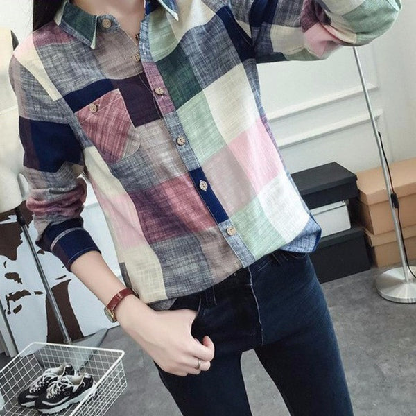 top - Fashion accessories ,clothing, jewelry, 2017 Krean Style Ladies Female Casual Cotton Long Sleeve Plaid Shirt Women Slim Outerwear Blouse Tops Blusas Size Chemise Femme - clothing, Gorgeous things online - gorgeous things online