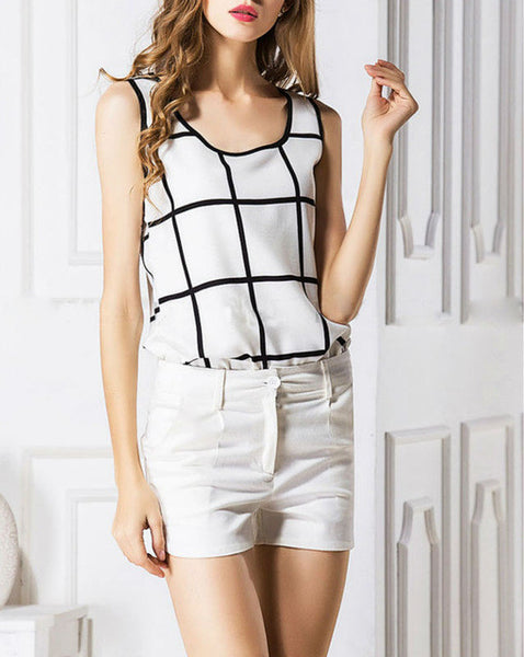 New Arrival European Style Chiffon Blouse Plaid Carmis Sleeveless Casual Chiffon Loose Blouse Tank Tops