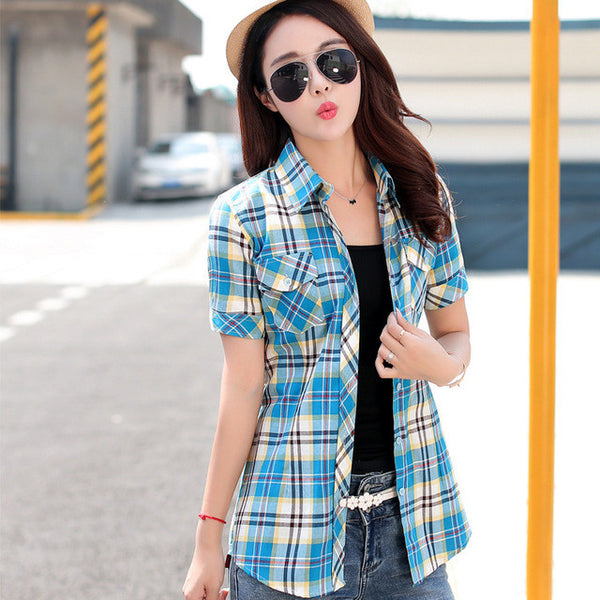 womens tops fashion 2016 summer style 14 color 100% cotton short-sleeved plaid shirt blouses plus size