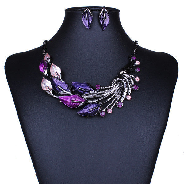 New African Jewelry Sets For Women Bule Crystal Leaf Necklaces Earrings set Black Gun Plated Vintage Party Prom jewelry set XD01