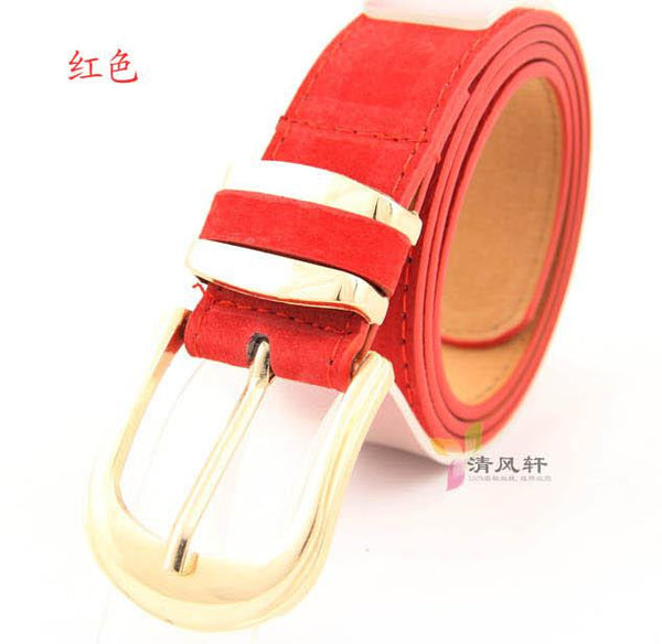 Pig Skin Belt For Women Candy Colored Suede Leather  New 2016 Fashion Ladies Faux Leather Metal Buckle Straps Girls wholesale