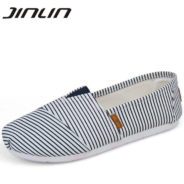 Women flats shoes 2017 new arrival spring slip-on striped canvas shoes women high quality breathable women loafers shoes 5 color