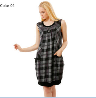 dress - Fashion accessories ,clothing, jewelry, BFDADI 2017 New Spring Style Women Casual Dresses Vintage Ladies Plaid Print Sleeveless Big pockets Dress Plus size 9-9320 - clothing, Gorgeous things online - gorgeous things online