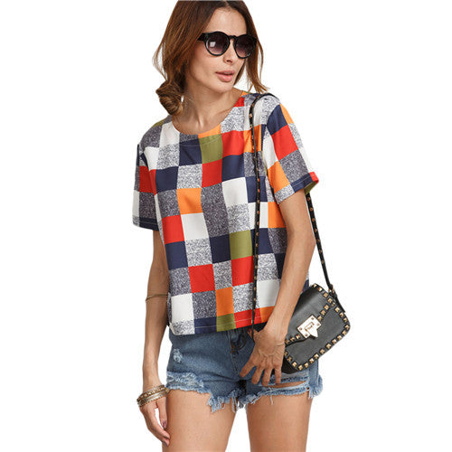 plaid top - Fashion accessories ,clothing, jewelry, DIDK Ladies Summer Tops For Woman Hot New Fashion Womens Multicolor Round Neck Short Sleeve Plaid Casual Blouse - clothing, Gorgeous things online - gorgeous things online